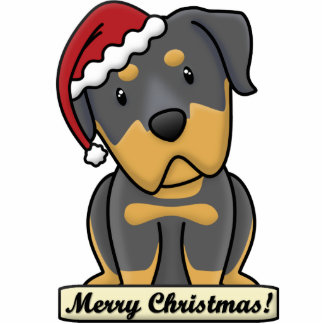 Cartoon Rottweiler Christmas Ornament