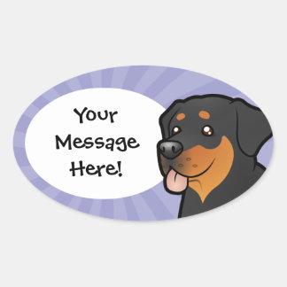 Cartoon Rottweiler Oval Sticker