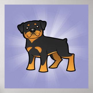 Cartoon Rottweiler Poster