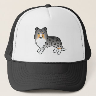 Cartoon Rough Collie In Blue Merle Coat Trucker Hat