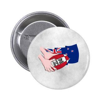Cartoon Rugby Ball Pass New Zealand Flag Button