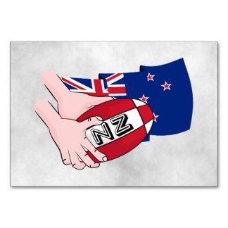 Cartoon Rugby Ball Pass New Zealand Flag Card