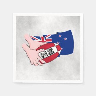 Cartoon Rugby Ball Pass New Zealand Flag Napkin