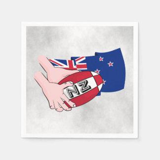 Cartoon Rugby Ball Pass New Zealand Flag Paper Napkin