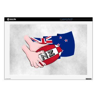 Cartoon Rugby Ball Pass New Zealand Flag Laptop Decal
