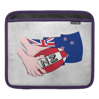 Cartoon Rugby Ball Pass New Zealand Flag Sleeve For iPads