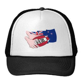 Cartoon Rugby Ball Pass New Zealand Flag Trucker Hat
