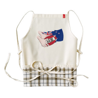 Cartoon Rugby Ball Pass New Zealand Flag Zazzle HEART Apron