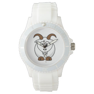 Cartoon Saanen Goat Wristwatches