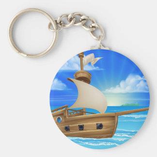 Cartoon Sailing Ship Keychain