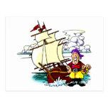 Cartoon Sailing Ship Postcard