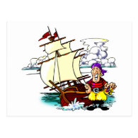 Cartoon Sailing Ship Postcard