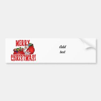 Cartoon Santa And Bags of Christmas Toys Car Bumper Sticker