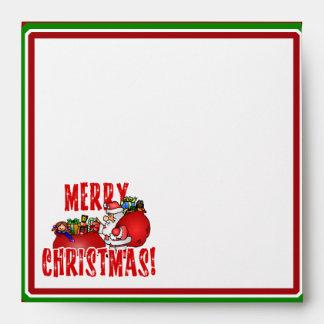 Cartoon Santa And Bags of Christmas Toys Envelopes