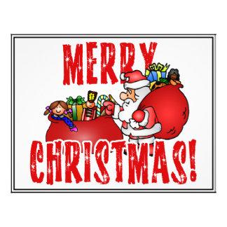 Cartoon Santa And Bags of Christmas Toys Custom Flyer