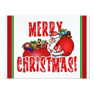"Cartoon Santa And Bags of Christmas Toys 6.5"" X 8.75"" Invitation Card"