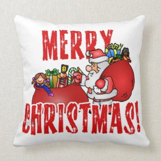 Cartoon Santa And Bags of Christmas Toys Pillows