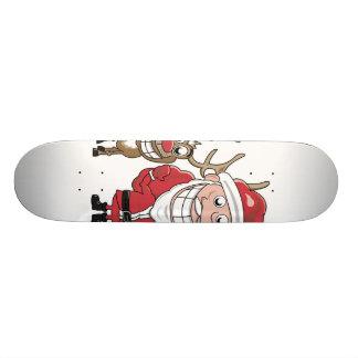 Cartoon Santa and Rudolph Skateboard Deck