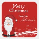 Cartoon Santa Christmas Gift Tags Square Sticker