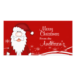 Cartoon Santa Christmas Greetings Custom Photo Card
