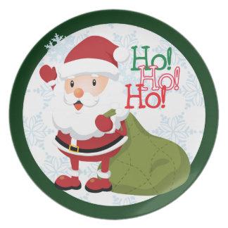 Cartoon Santa Christmas Plate