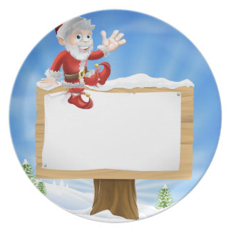 Cartoon Santa Christmas Sign Party Plates