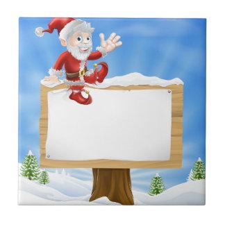 Cartoon Santa Christmas Sign Tile