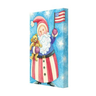Cartoon Santa Claus American Flag Teddy Bear wrappedcanvas