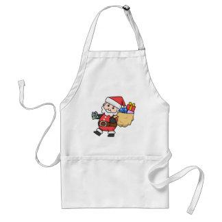Cartoon Santa Claus Carrying a Bag of Toys Adult Apron
