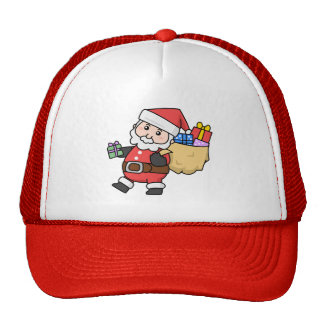 Cartoon Santa Claus Carrying a Bag of Toys Trucker Hat