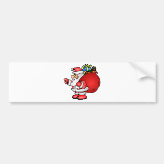 Cartoon Santa Claus Carrying Sack and Pointing Bumper Sticker
