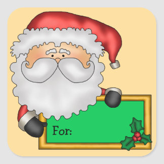 Cartoon Santa Claus Christmas Gift Tag