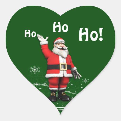 Cartoon Santa Claus Christmas Gift Tag Heart Sticker