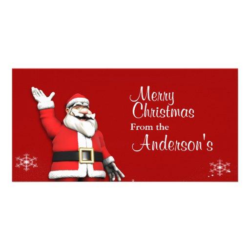 Cartoon Santa Claus Christmas Greetings Photo Cards
