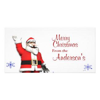 Cartoon Santa Claus Christmas Greetings Photo Card Template