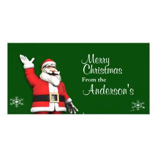 Cartoon Santa Claus Christmas Greetings Custom Photo Card