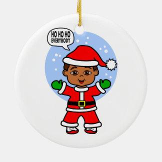 Cartoon Santa Claus Cute Toddler Image Ceramic Ornament
