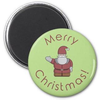 Cartoon Santa Claus 2 Inch Round Magnet