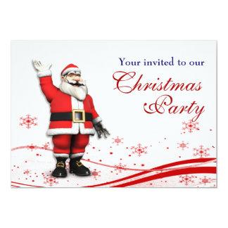 Cartoon Santa Claus & Mouse Christmas Party Card