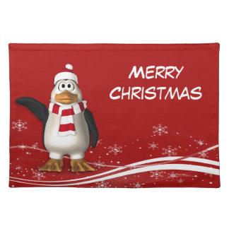 Cartoon Santa Claus Penguin Christmas Cloth Placemat