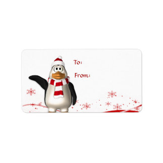 Cartoon Santa Claus Penguin Christmas Gift Tag Address Label