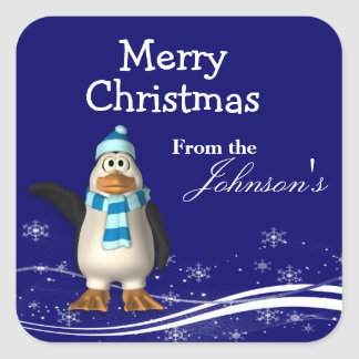 Cartoon Santa Claus Penguin Christmas Gift Tags