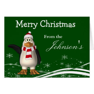 Cartoon Santa Claus Penguin Christmas Greeting Card