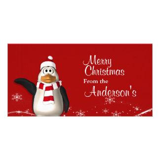 Cartoon Santa Claus Penguin Christmas Greetings Custom Photo Card