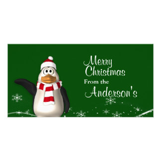 Cartoon Santa Claus Penguin Christmas Greetings Customized Photo Card
