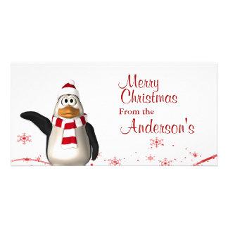 Cartoon Santa Claus Penguin Christmas Greetings Photo Card Template