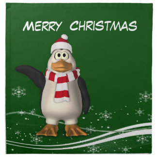 Cartoon Santa Claus Penguin Christmas Napkin