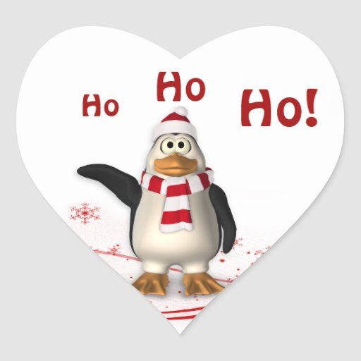 Cartoon Santa Claus Penguin Christmas Heart Sticker