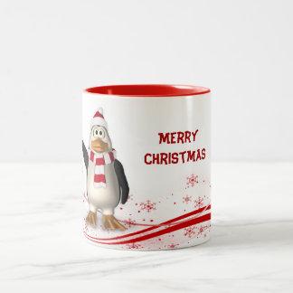 Cartoon Santa Claus Penguin Christmas Two-Tone Coffee Mug