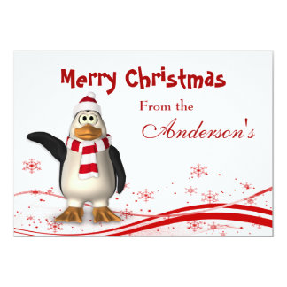 Cartoon Santa Claus PenguinChristmas Greeting Card